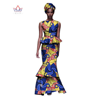 2020 New African Dresses For Women Dashiki Ladies Clothes Ankara O-Neck Africa Clothes Two Pieces Set Natural 6xl None WY1054 - 14, M