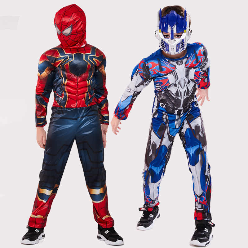 The Avengers Kids Superhero spiderman Captain America iron man panther Thor Cosplay Muscle Clothing Halloween Costume for Kids