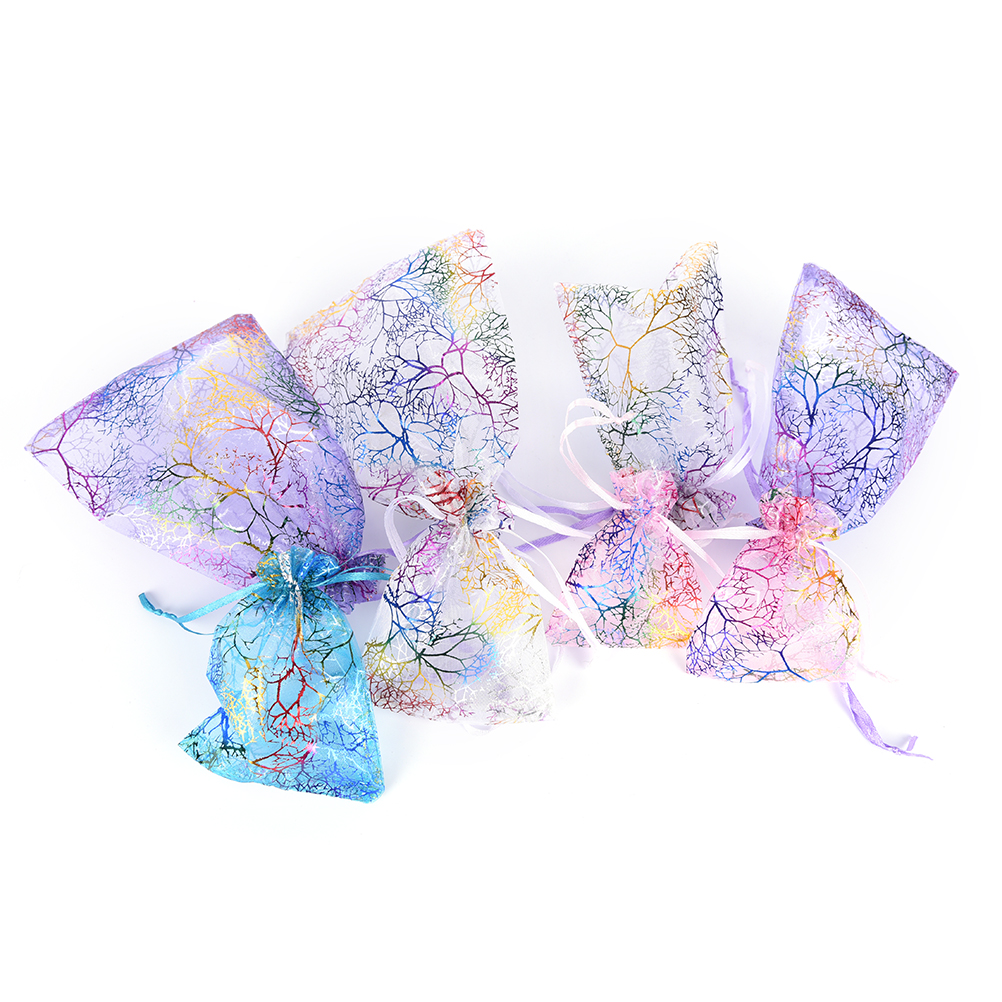 3/10Pcs/pack 4 Sizes Drawstring Bag Colorful DIY Coralline Organza Jewelry Pouch  Wholesale