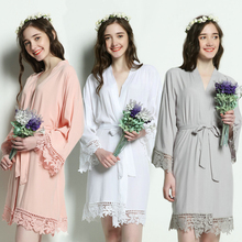 Owiter 2019 Cotton Kimono Robes w/ Lace Trim Women Bridesmaid Bridal Wedding Short Belt Bath Robe Sleepwear 14 Colors Plus Size