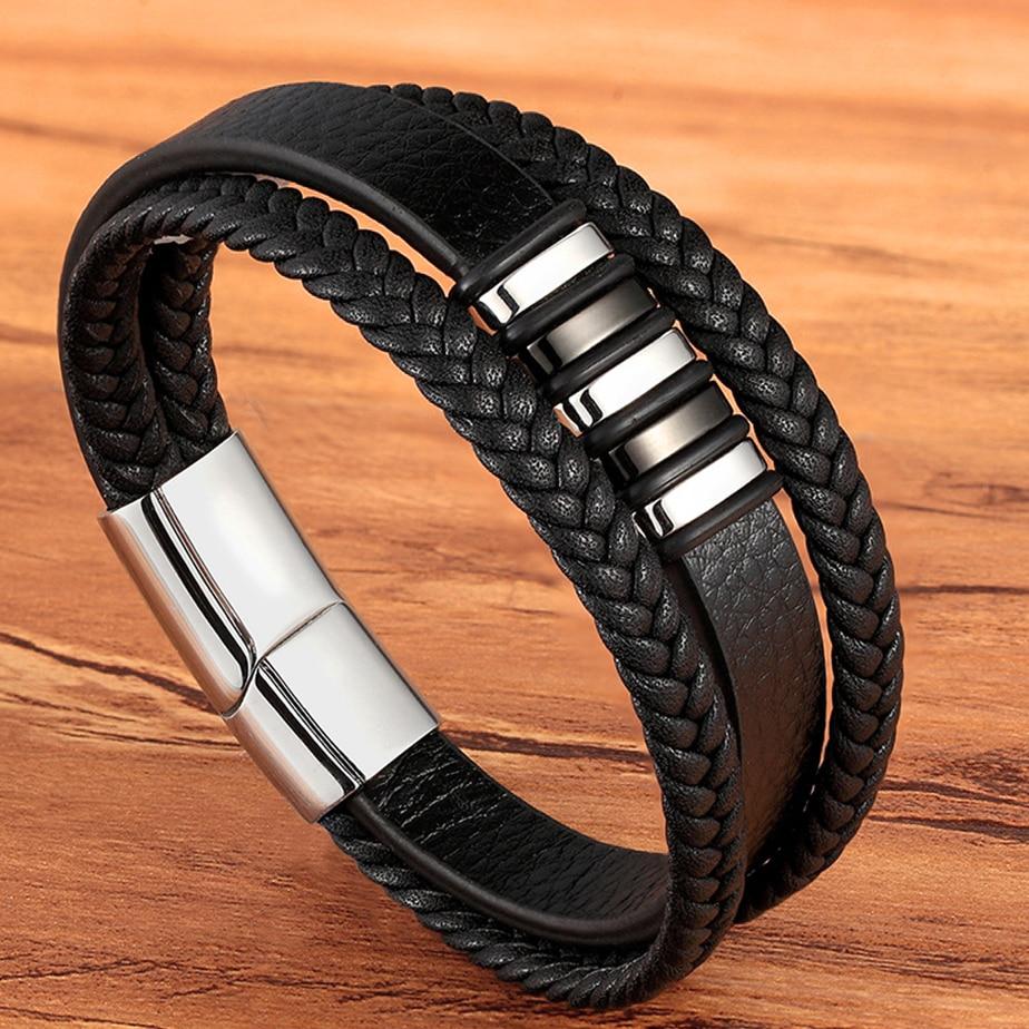 Moda acciaio inossidabile fascino magnetico nero uomini braccialetto in pelle genuino intrecciato Punk Rock braccialetti accessori gioielli amico 1