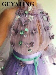 Image 3 - Elegant สีม่วงลาเวนเดอร์ 3D ผีเสื้อดอกไม้ชุดราตรีแขนยาวภาษาสวีดิชคำผู้หญิงอย่างเป็นทางการ Gowns ยาวดูไบพรหม