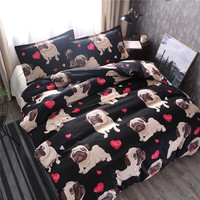 Modern Cute Bedding Set King Size Cartoon Heart Dog Kid Duvet Cover Sets Single Double Full Queen Bed Linens Black Color Quilt