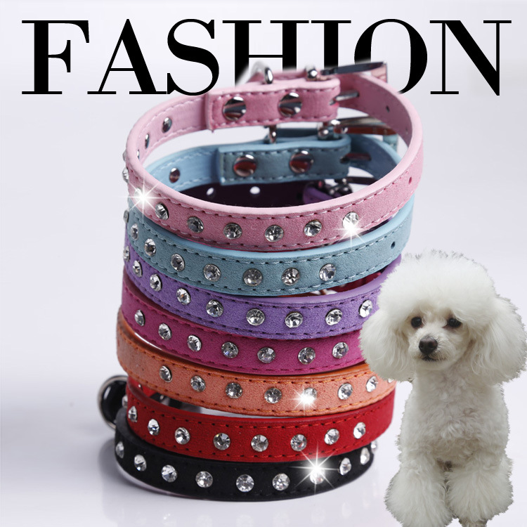 Pet Supplies Top Grade Crystal Rhinestone Velvet Pet Collar Small Cat Dog Traction Rope Pet Collar