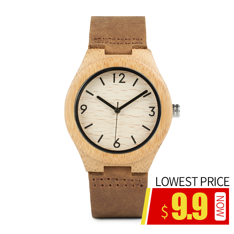 BOBO BIRD Men's Watches Genuine Leather Strap Wood Quartz Watches Fashion Design In Gift Paper Box Reloj Mujer