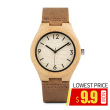 BOBO BIRD Men's Watches Genuine Leather Strap Wood Quartz