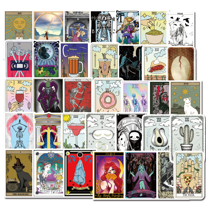 10/30/50pcs Tarot Card Graffiti Waterproof PVC Sticker Divination Stickers Luggage Laptop Refrigerator Motorcycle Skateboard Toy