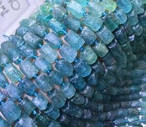 Свободные бусины Апатит Синий Барокко/столб 14 дюймов для DIY ювелирных изделий FPPJ оптовая продажа природы