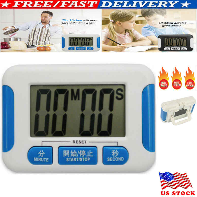 Large LCD Digital Timer Kitchen Cooking Count-Down Up Loud Alarm Magnetic
