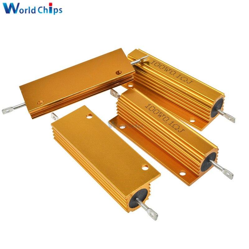 100W Aluminum Power Metal Shell Case Wirewound Resistor ±5% 0.1R 0.5R 1R 2R 6R 8R 10R 20R 100R 1K Ohm Aluminium Shell Resistor