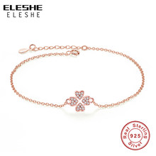 ELESHE Genuine 925 Sterling Silver Clover Heart Chain Bracelets for Women Clear CZ Crystal Bracelet Fashion Rose Gold Jewelry(China)