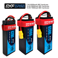 DXF Lipo батарея 4S14.8V 7000mah 60C/4S 14 8 V 6500mah 80C /2S 7 4 V 6200mah 80C Твердый Чехол для 1/10 1/8 truggy Багги RC Car truck