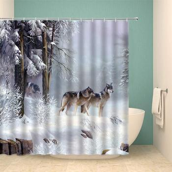 Wolf Shower Curtain Set Winter Animal Forest Snow Mountain Home Bathroom Decoration 70×70 Inch with Hook Hole