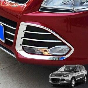 For Ford Escape Kuga 2 2013 2014 2015 2016 Chrome Front Head Fog Light Foglight Lamp Cover Trim Bumper Molding Guard Decoration
