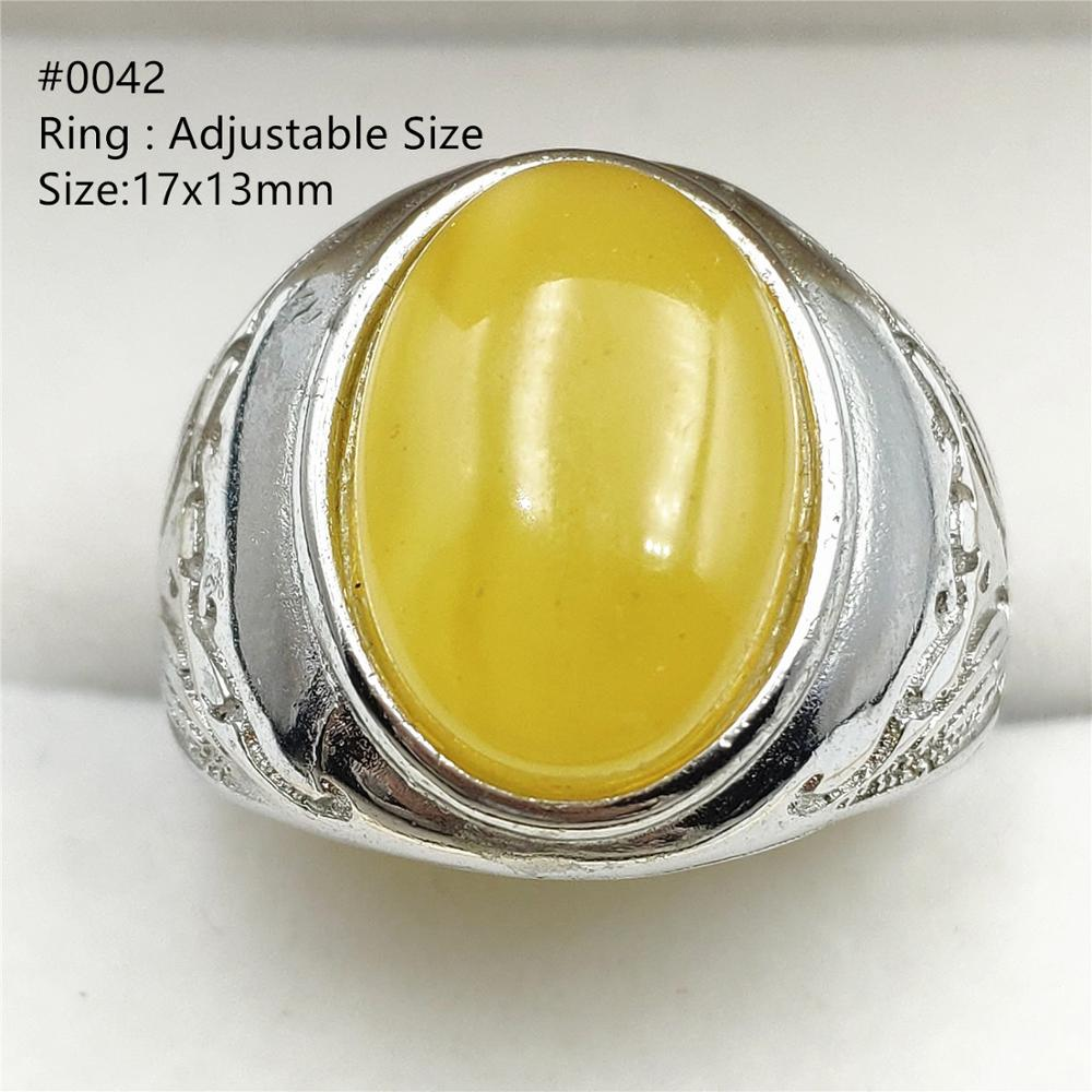 Genuine Natural Amber Yellow Gemstone Adjustable Size Ring Big Bead Stone For Woman Man Wedding Ring Sterling Silver AAAAAA(China)