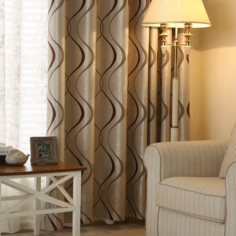 Thick Luxury Wavy Striped Kitchen Curtains For Living Room Bedroom Curtains Decoration Modern Blackout Curtains