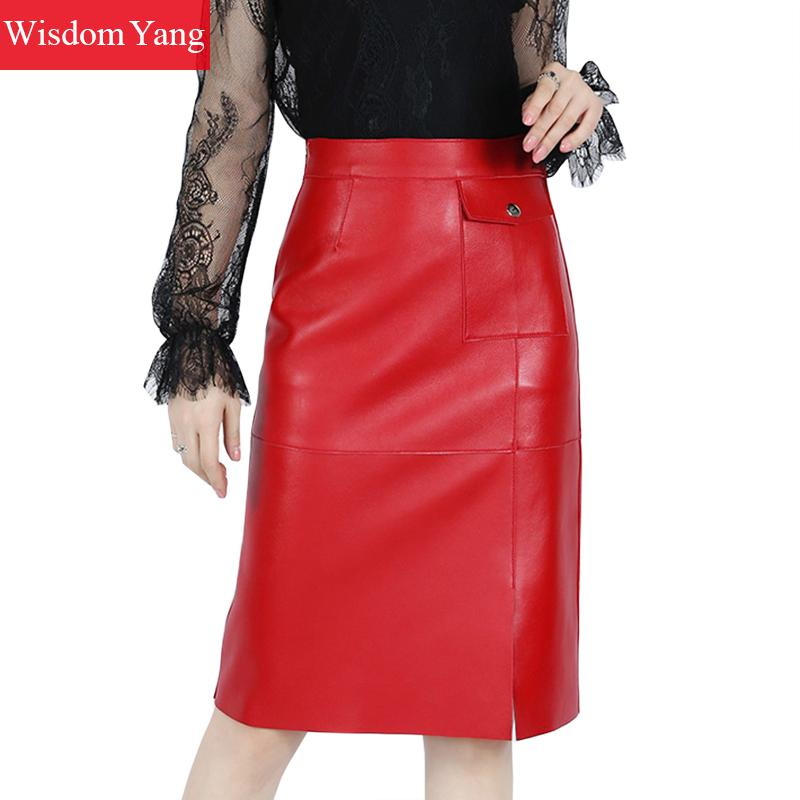 Autumn Real Sheep Skin Genuine Leather Wrap Skirt High Waisted Midi Pencil Skirts Womens Party Sexy Red Black Korean Lady Skirts