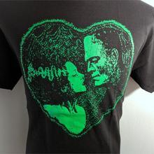Casual Tshirt HORROR Funny Tops FRANKENSTEIN HALLOWEEN HEART BLACK GREEN MONSTER BRIDE
