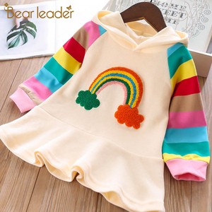 Bear Leader Girls Party Dress New Brand Princess Dress Knitted Rainbow Colorful Kids Girl Dresses Sweet Hooded Children Clothing