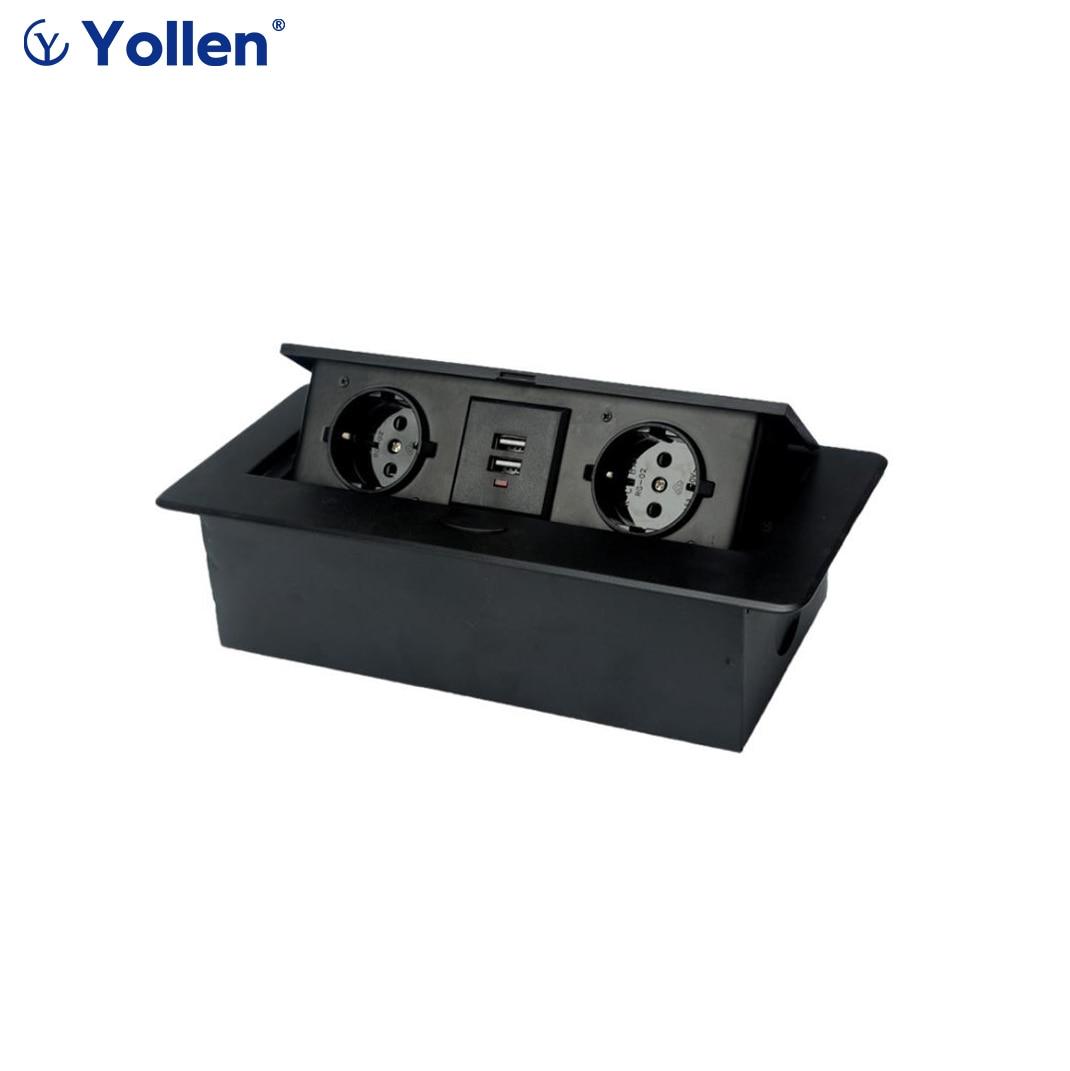 All Aluminum Panel EU Standard Hidden Type Table Socket 2 Way Electrical Outlet Modular Combination Power 2USB / 3EUR Household|Electrical Sockets| - AliExpress