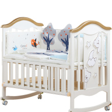 Детская кровать из цельного дерева, европейская многофункциональная белая детская кровать Bb, колыбель, кровать для новорожденных