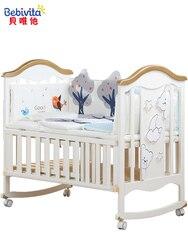 Cama de bebé de 0 a 6 años, de madera maciza, europea, multifuncional, blanca, cuna de bebé, cama de punto Neonatal, cama con dibujos animados