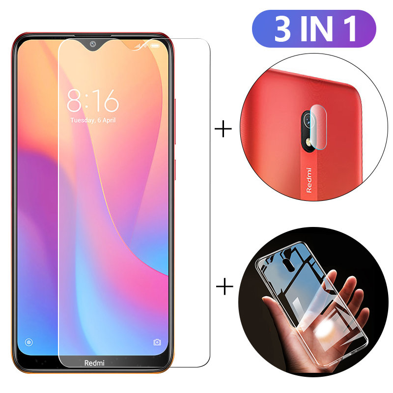 3-in-1 Case + Camera Protective Glass For Xiaomi Redmi 8 8a 8t Screen Protector Lens Film For Xiomi 9t Pro 9 Lite Tempered Glass