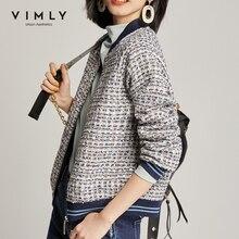 Vimly Short Jacket For Women 2020 Winter Clothes Women Vintage Zipper Patchwork Tweed Jackets Femme Veste 97902