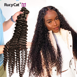 Brazilian Human Hair Bundles Deep Wave 8- 32 34 36 38 Inch Hair Weave Natural Color Remy Human Hair Extension 1/3/4PC Free Ship(China)