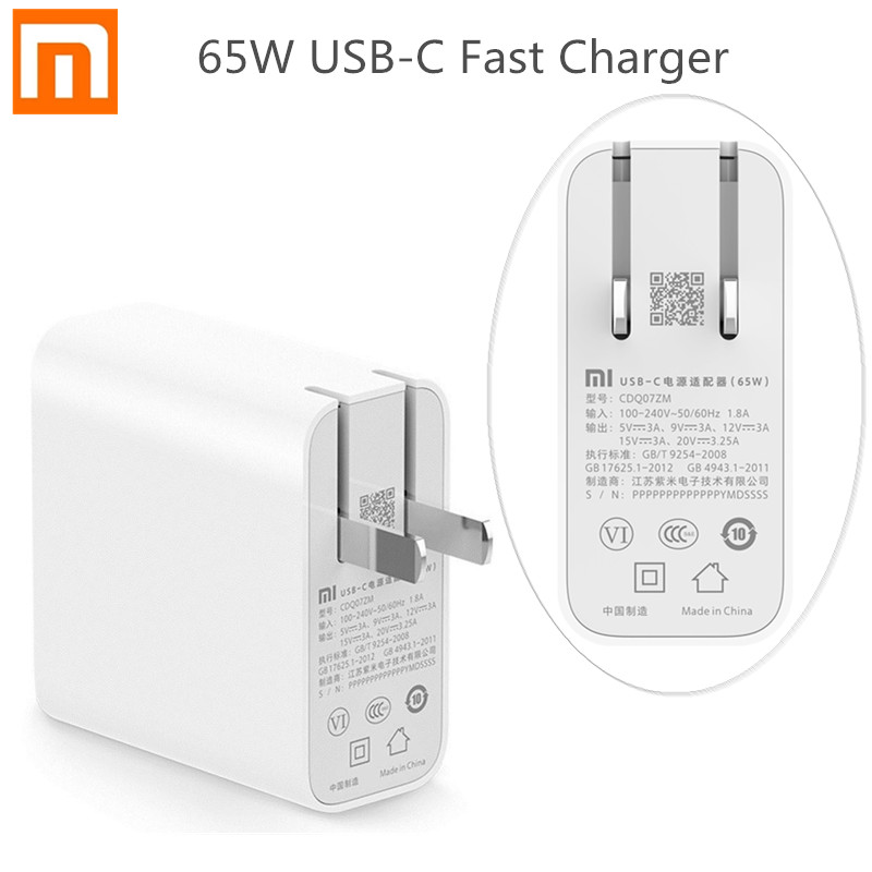 Xiaomi 65w USB-C Power Adapter QC 3.0 USB Plug Home Fast Charge Charging Mobile Computer Charger Portable Type-c Interface