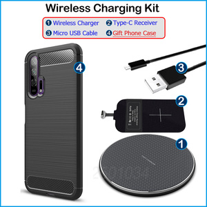 Image 5 - Chargeur sans fil pour Huawei Honor 20 Pro Qi chargeur sans fil + USB Type C récepteur adaptateur cadeau coque souple en TPU pour Honor 20 Pro