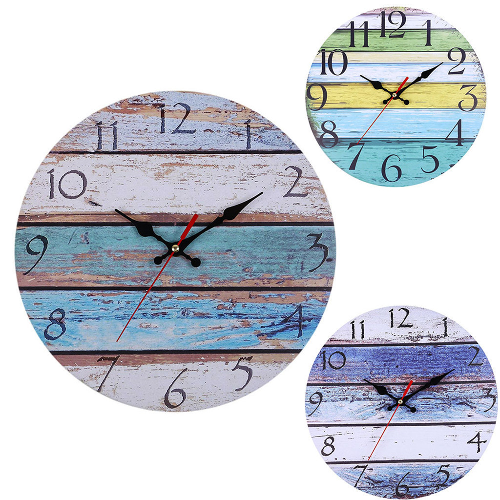 Vintage Rustic Large Arabic Numerals Wooden Wall Clock Antique Shabby Retro Wall Clock For Home Kitchen Room Decor