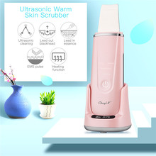 Pores-Cleaner Face Spatula Ultrasonic Facial Skin-Scrubber Blackhead-Remover EMS 50 Massage-Heating-Function
