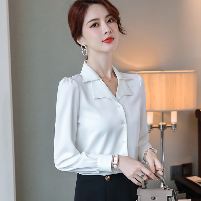 Double Neck Satin Shirt Women Long Sleeve Spring New Temperament Fashion Casual Blouses Office Ladies Formal Work Tops 5