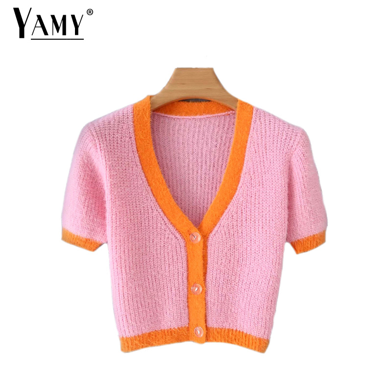 Autumn Winter Pink Cardigans Kawaii Cropped Cardigan Women Crop Sweater Cute Knitted Sweaters Sexy Cute Sweaters Vintage Fall
