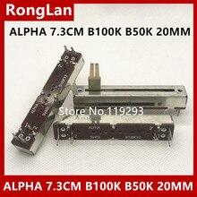 [BELLA]ALPHA SV453 B100Kx2 100KBX2 B50K B50KX2 7,3 CM 73MM mezclador doble recta potenciómetros de deslizamiento 20MM