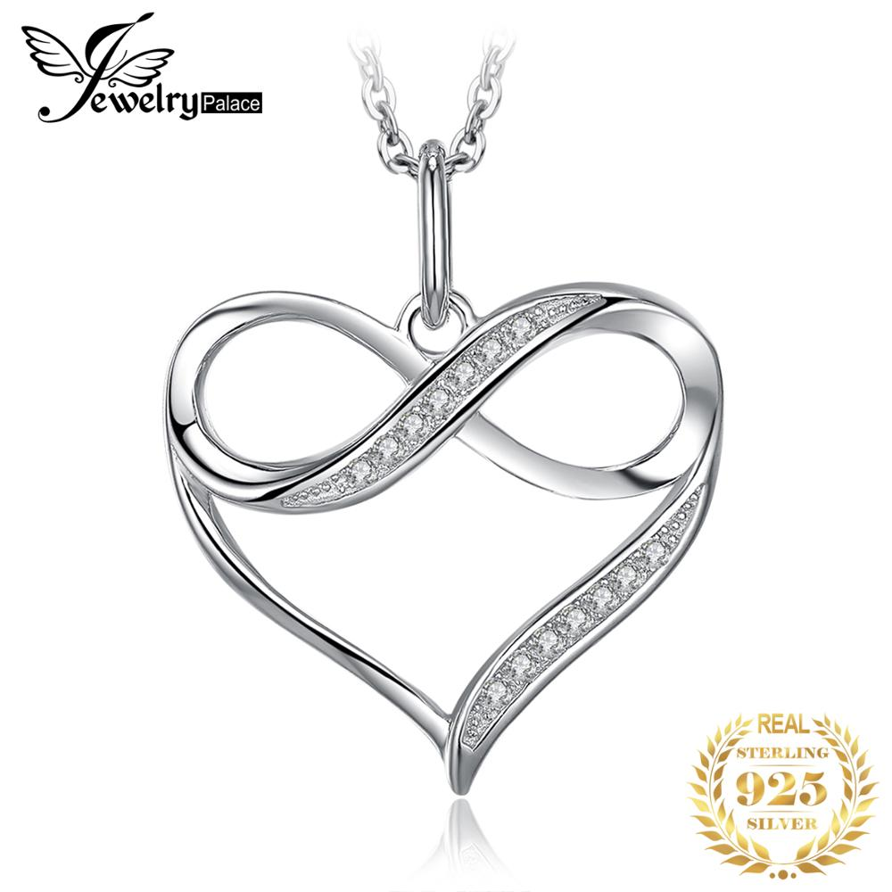 Infinity Love Heart Silver Pendant Necklace 925 Sterling Silver Choker Statement Necklace Women Silver 925 Jewelry WithoutChain(China)