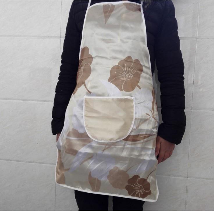 Ev ve Bahçe'ten Kol Kılıfları'de Satin Waterproof Apron Printed Waterproof Oil Aprons PE Satin Cloth Waterproof Adult title=