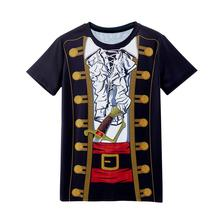 Mens Caribbean Pirate Cotume 3D Funny T-Shirt Adult Party Carnival Halloween Cosplay Tee Top