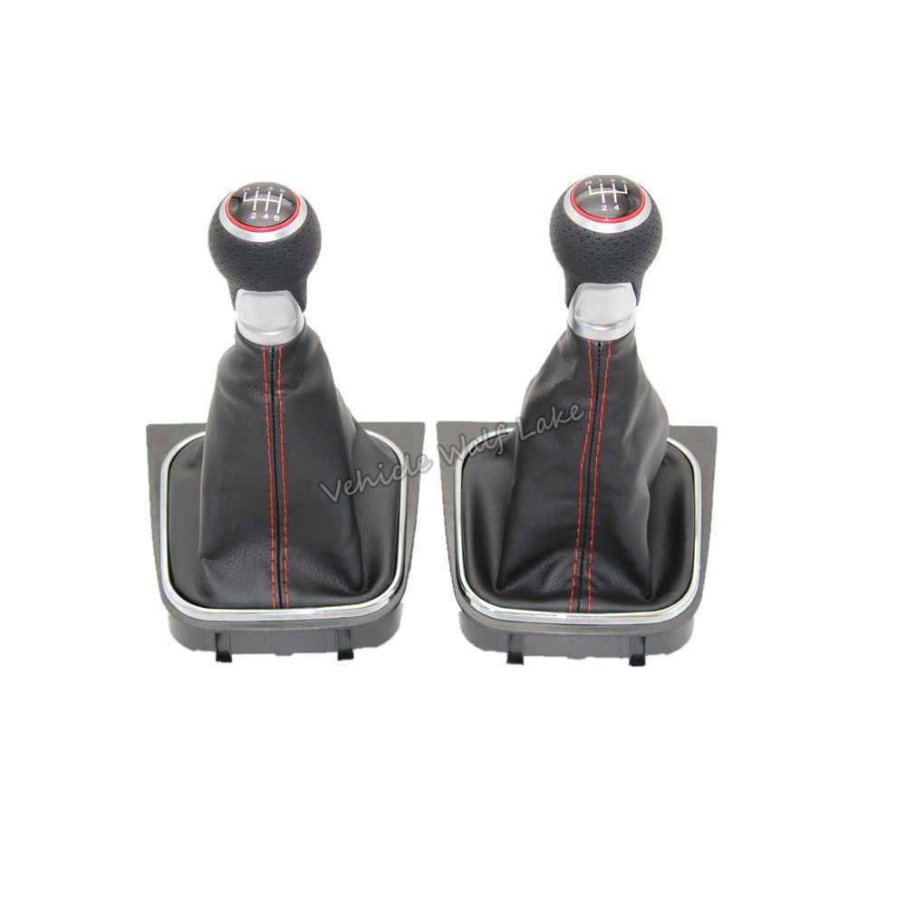 VW Jetta için A5 A6 MK5 MK6 2006 2007 2008 2009 2010 2011 2012 2013 2014 araba 5/6 hızlı sopa vites topuzu deri çizme