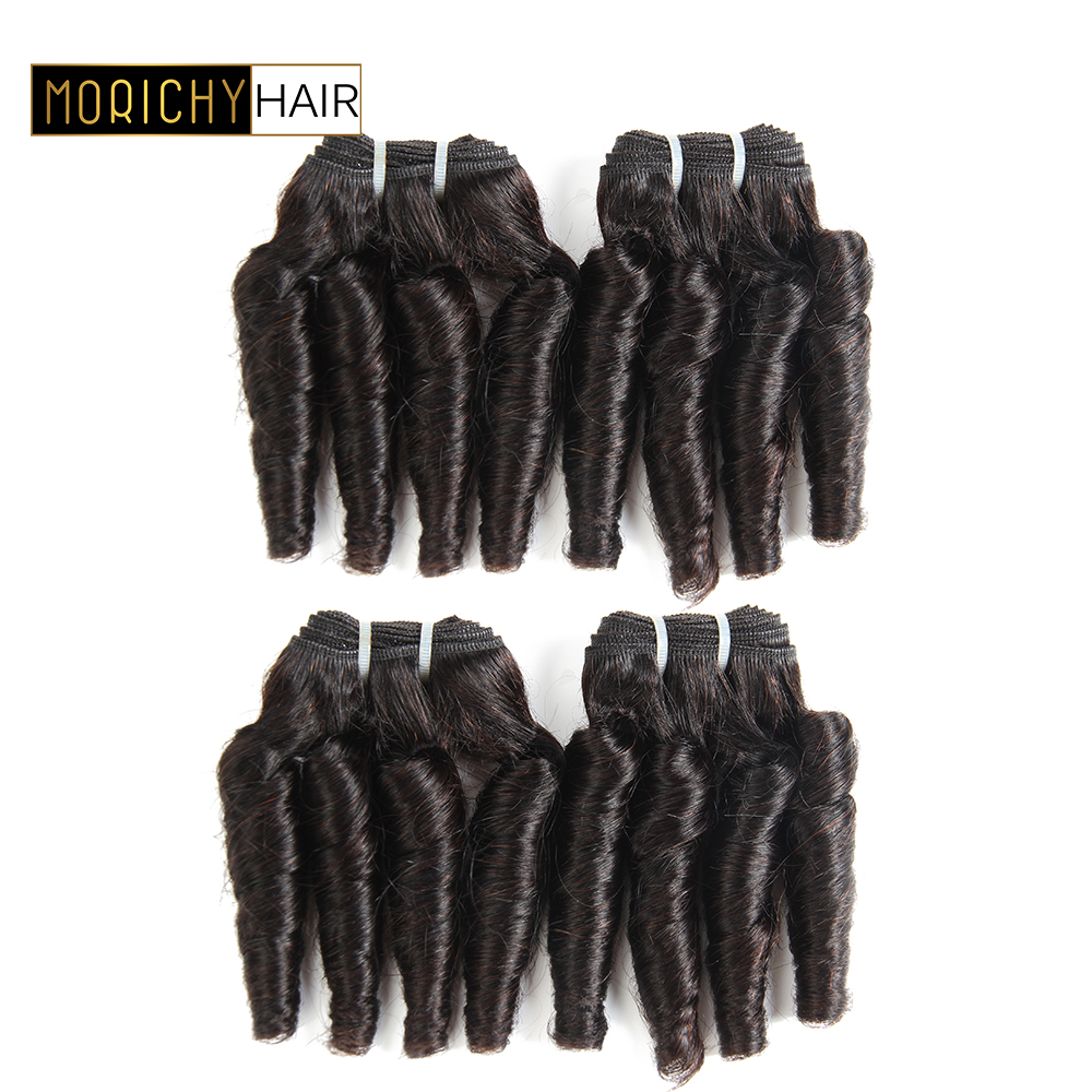 Morichy 50G/Piece Funmi Hair Weave 4 Bouncy Hair Bundles 8inchs Brazilian Bouncy Curly Human Hair Bundles Non-Remy Human Hair