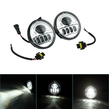 """Motorcycle 4.5"""" LED Spot Fog Passing Light Lamp For Harley Touring Softail Indian Chieftain Street Glide Yamaha"""