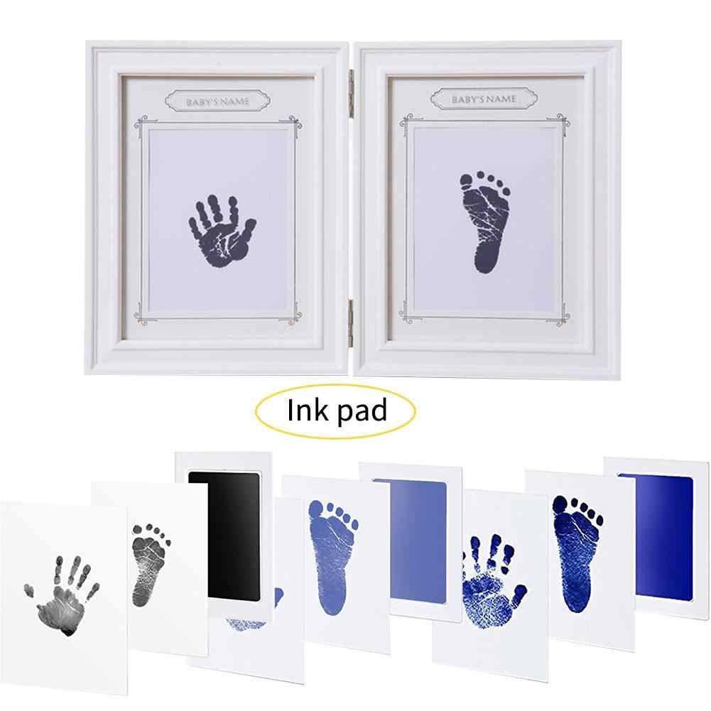 Large Baby Disposable Wash Pad Non-Toxic Baby Footprints Handprint Kit Family Souvenir Baby Shower Gift Imprint Card Set