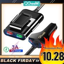 QGEEM 4 USB מטען לרכב עבור iPhone טעינה מהירה 3.0 רכב נייד מטען פטיש קדמי חזרה QC3.0 טלפון טעינה מהיר רכב מטען