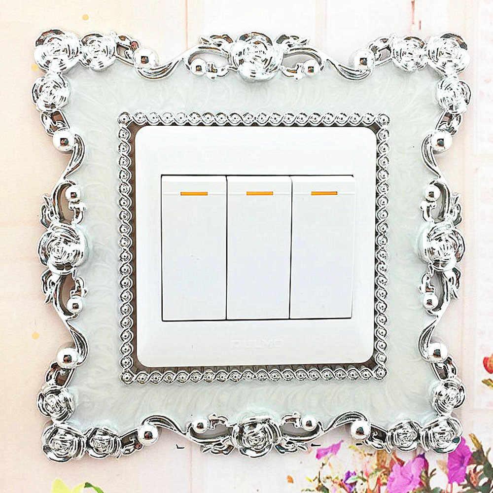 1 adet ev anahtarı kapak kare şekli anahtarı duvar ışık soketi çıkartmalar 86X86mm reçine duvar sanatı beyaz yeşil odası dekorasyon ND