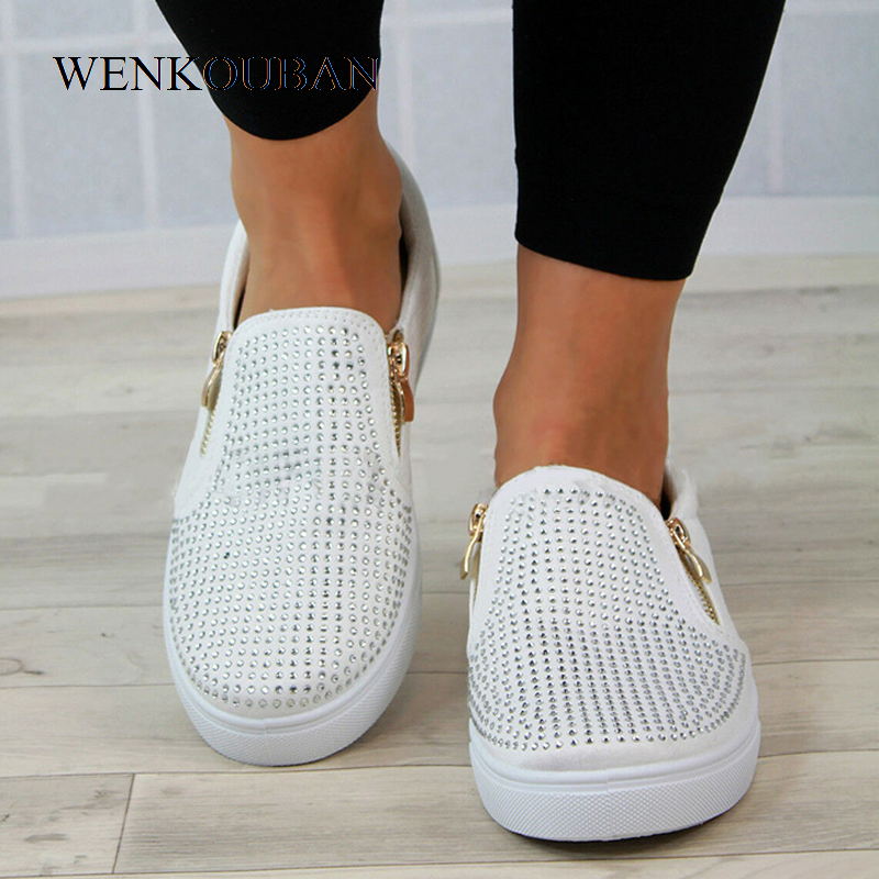 Image 2 - Platform Shoes Women Crystal Slip On Flat Loafers Female Wedge Shoes For Women Mocassin Zipper Glitter Flats Sapato FemininoWomens Flats   -