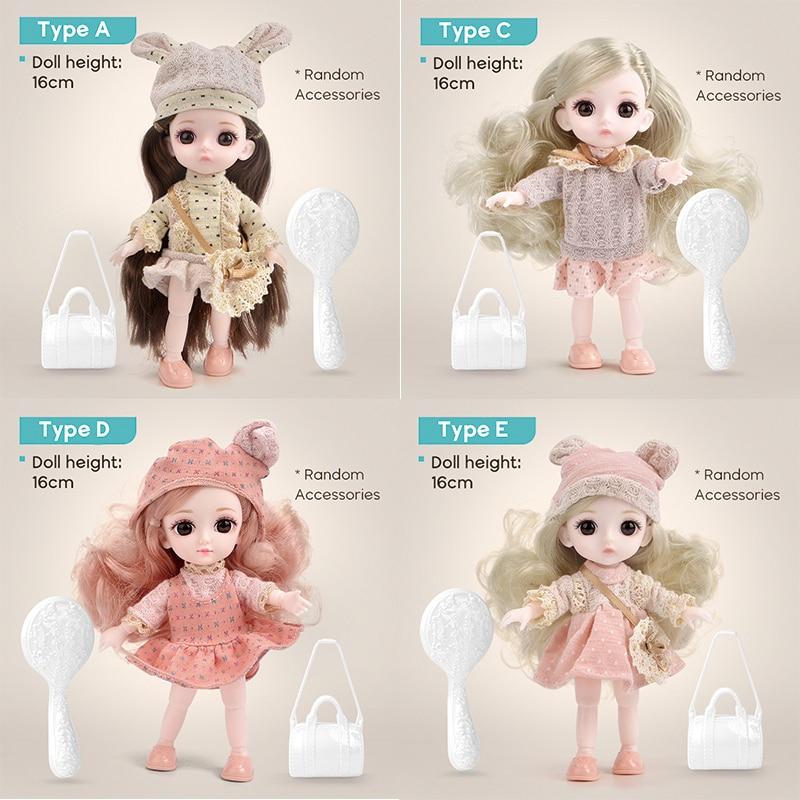 High Quality 16cm 1/12 Bjd Doll 13 Ball Joints Body Makeup Dress Up Plastic DIY Toys Baby Girls Fashion  Girlfriend New Gift