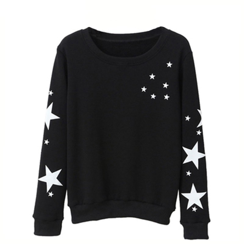 2020 New Autumn Winter Star Print Round Neck Women Pullover Tee Long Sleeve Loose Clothes Women & Couples