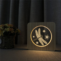 Butterfly Shape Wooden 3D LED Arylic Night Lamp Table Light Switch Control Carving Light for Children's Birthday Gift Dropship