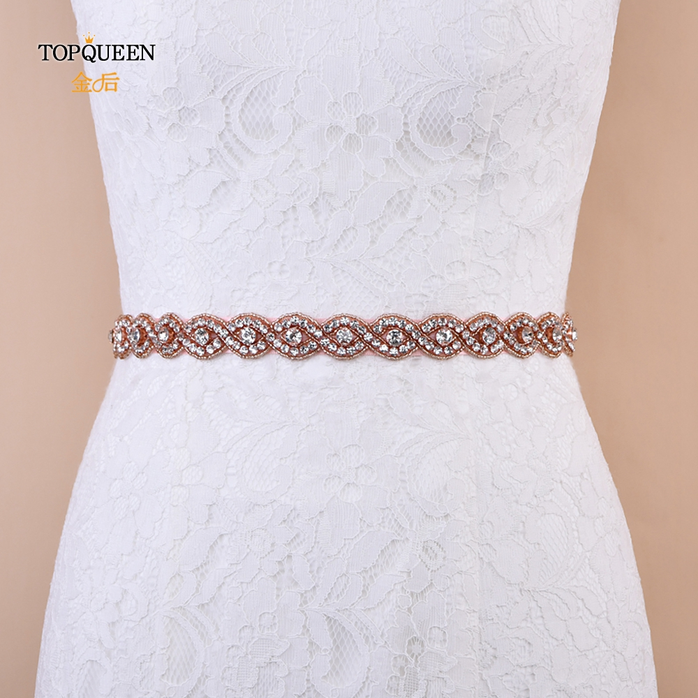 TOPQUEEN S28-RG Rose Gold Bridal Belt  Size Small Rhinestone Belt Thin Crystal & Beaded Bridal Belts Women Beaded Belt